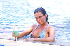 Woman in swimming pool with cocktail Stock Image