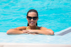 Woman swimming pool Royalty Free Stock Image