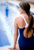 Woman in a swimming pool Royalty Free Stock Images