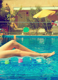 Woman in swimming pool. Royalty Free Stock Photo