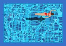 Woman swimming. In a swimming pool viewed from above vector illustration