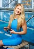 Woman in swimming pool Stock Photo