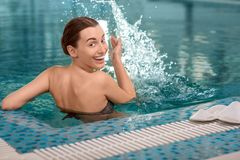 Woman in the swimming pool Royalty Free Stock Images