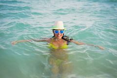 Woman swimming on the sea Royalty Free Stock Image