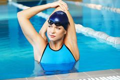 Woman in swimming suit near pool Royalty Free Stock Photos