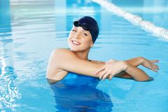 Woman in swimming suit near pool Royalty Free Stock Photo