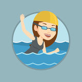 Woman swimming vector illustration. Royalty Free Stock Photo