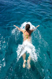 Woman swims in the sea. Woman swims in the red sea Stock Photos