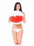 Woman in swimsuit with beach ball stock images
