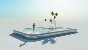 Woman in swimsuit. And 3d tropical image coming out of a touch screen.  This is a 3d render illustration Stock Images