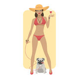 Woman in swimsuit with dog pug Stock Image