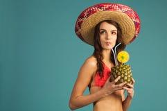 Woman in swimsuit enjoy beach season, vacation Stock Photo