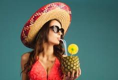 Woman in swimsuit enjoy beach season, vacation Stock Photography