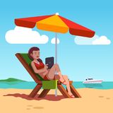 Woman in swimsuit lying on lounger at ocean beach. Beautiful girl tanning and using tablet computer, relaxing under sun umbrella. Summer vacation. Flat style Royalty Free Stock Photo