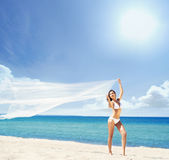 A woman in a swimsuit posing on the beach Stock Photo