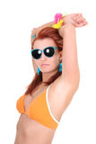 Woman in swimsuit and sunglasses Stock Photography