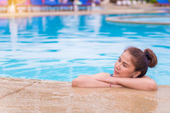 woman with swimsuit in swimming pool. Royalty Free Stock Image