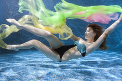 Woman in a swimsuit underwater. Royalty Free Stock Photos