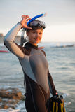 Woman in swimsuit. Young woman wearing swimsuit and snorkel Stock Photos