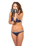 Woman in swimsuits taking a selfie. Stock Image