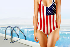 Woman in swimwear as the American flag Royalty Free Stock Photography