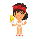 Woman in Swimwear with Boiled Corn Royalty Free Stock Photos