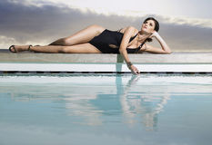 Woman In Swimwear By Pool Stock Photography