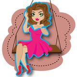 Woman and swing. This file represents a woman or girl and a swing with pink background Royalty Free Stock Images