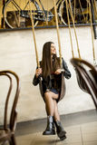 Woman on swing Royalty Free Stock Images