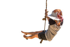 Woman swinging on air Stock Images