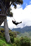 Woman swinging in the end-of-the-world swing in the town of Banos, Ecuador. The small town of Banos or Baños, in Ecuador, is famous for it`s tree house and royalty free stock photos