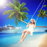 Woman Swinging Summer Beach Relaxing Concept Stock Photos