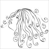 Woman with swirls hair Stock Photo