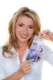 Woman with Swiss franc banknotes Stock Photo