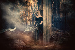 Woman with sword Royalty Free Stock Image