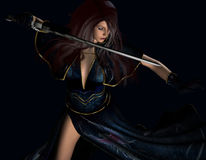 Woman with sword. 3d rendering of a young woman with a sword as illustration Royalty Free Stock Photography