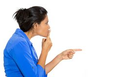Woman sying silence, shh Royalty Free Stock Photos