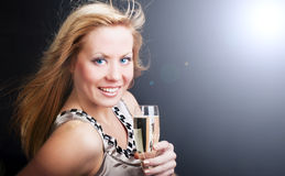 Woman with sylvester champagne Stock Photos