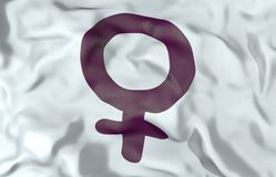 Woman symbol flag 3d illustration Stock Image
