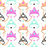 Woman symbols seamless pattern. Tiara, crown. Pixel art and line art styles. Vector illustration eps 10 Royalty Free Stock Photo