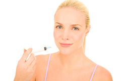 Woman with syringe of Botox Royalty Free Stock Photo