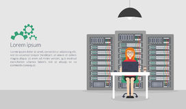 Woman System Administrator. Vector illustration in flat style. Technologies Server Maintenance Support Descriptions. Stock Photos