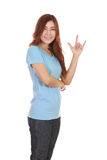 Woman in t-shirt with hand sign I love you Stock Image