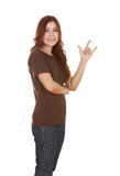 Woman in t-shirt with hand sign I love you Royalty Free Stock Images