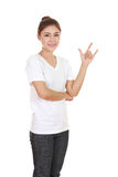 Woman in t-shirt with hand sign I love you Royalty Free Stock Photos