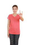 Woman in t-shirt with hand sign I love you Stock Photo