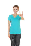 Woman in t-shirt with hand sign I love you Stock Photos