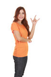 Woman in t-shirt with hand sign I love you Stock Images