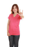 Woman in t-shirt with hand sign I love you Royalty Free Stock Photography