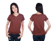 Woman in t-shirt isolated on white background Royalty Free Stock Photos